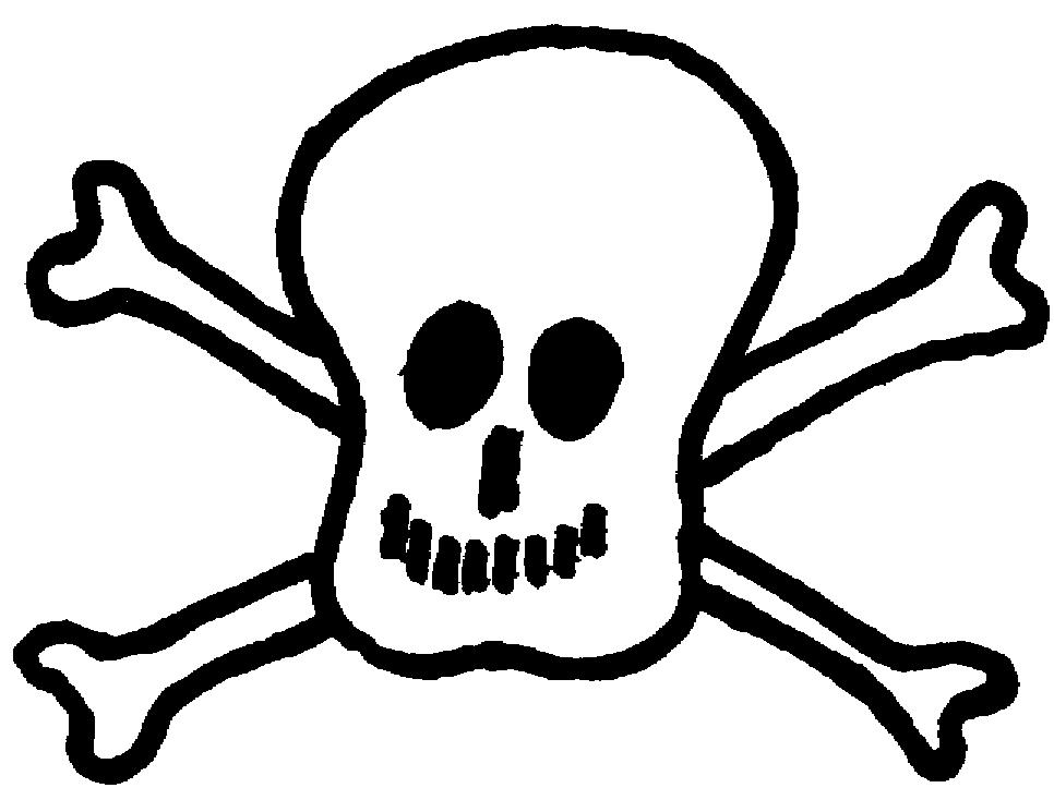 Sketch of Death's head and cross-bones