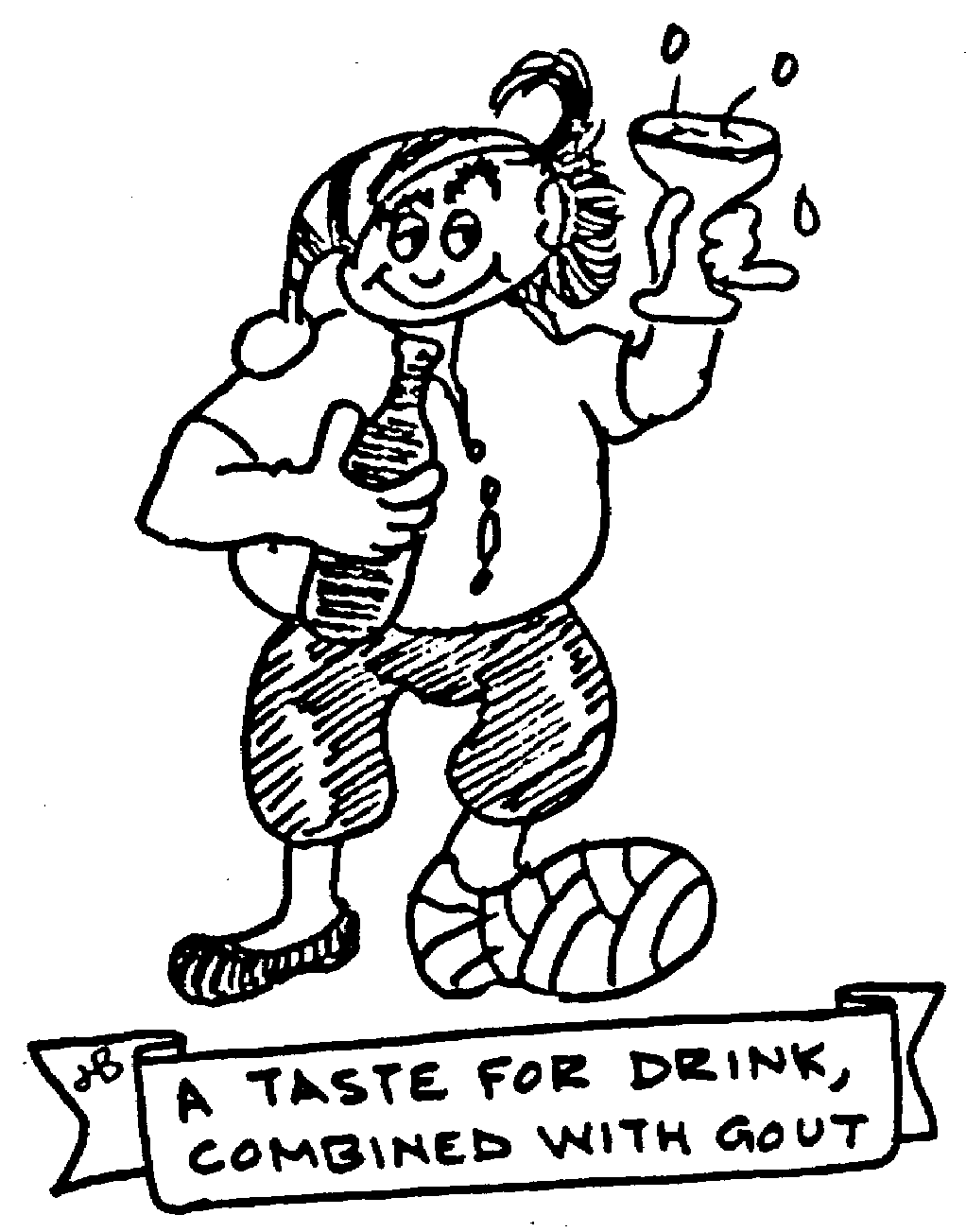 Sketch of A taste for drink, combined with gout