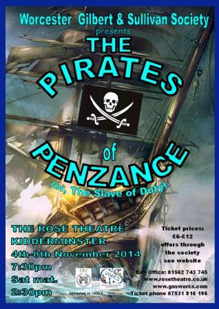 GASWORCS poster for The Pirates of Penzance 2014