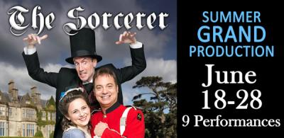 Gilbert and Sullivan Society of Austin banner for The Sorcerer, 2015