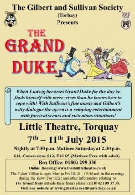 Poster for The Grand Duke from The Gilbert and Sullivan Society (Torbay), 2015